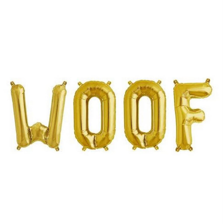 16 Inch Gold WOOF Foil Balloon Banner - Dogs & Puppies Birthday Party Supplies and Decorations