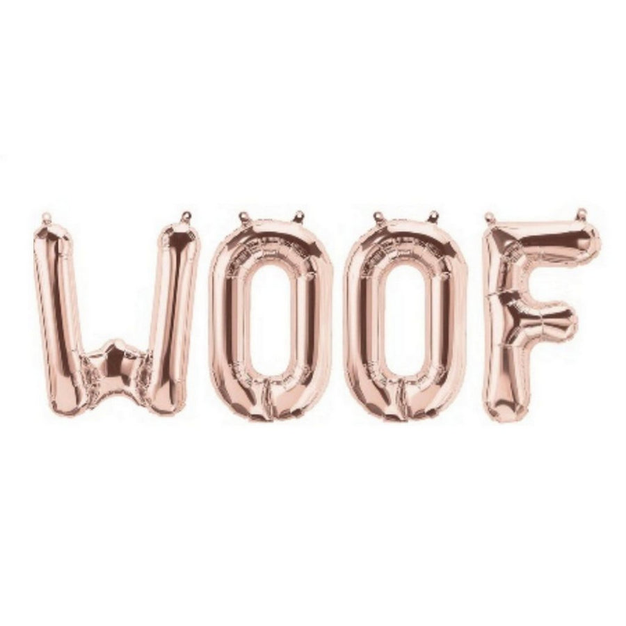 16 Inch Rose Gold WOOF Foil Balloon Banner - Dogs & Puppies Birthday Party Supplies and Decorations