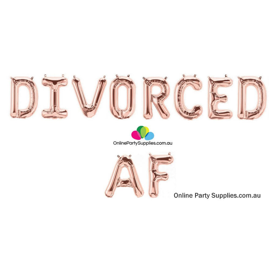 "Online Party Supplies Australia 16"" Rose Gold 'DIVORCED AF' Divorce Party Foil Balloon Banner Bunting Garland"