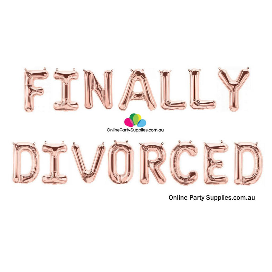 "Online Party Supplies Australia 16"" Rose Gold 'FINALLY DIVORCED' Party Foil Balloon Banner"
