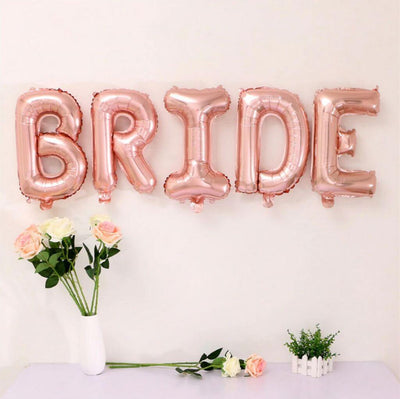 "16"" Online Party Supplies Rose Gold BRIDE Bridal Shower Wedding Balloon Banner"