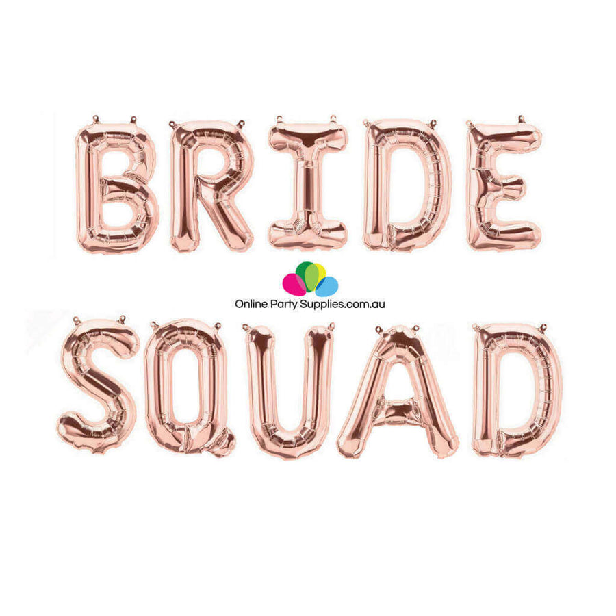 "16""  Rose Gold BRIDE SQUAD Foil Balloon Banner"