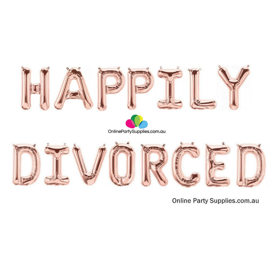 "Online Party Supplies Australia 16"" Rose Gold 'HAPPILY DIVORCED' Party Foil Balloon Banner"