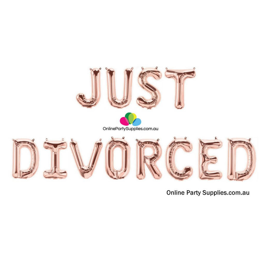 "16"" Rose Gold 'JUST DIVORCED' Party Foil Balloon Banner"