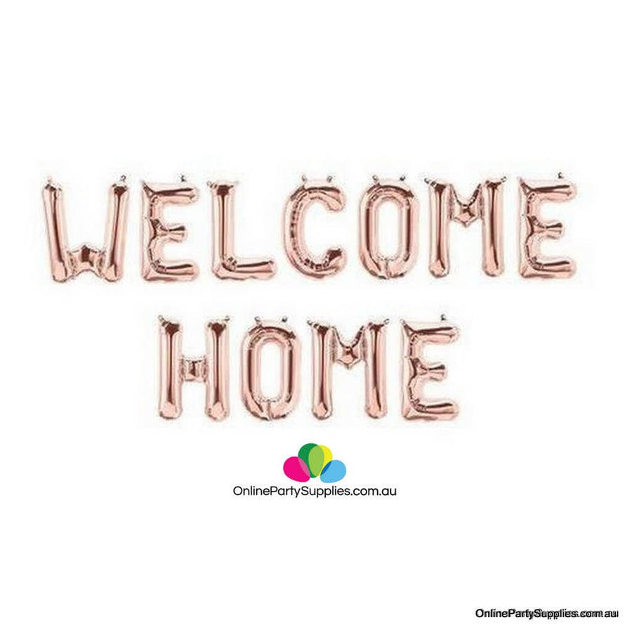 16 Inch Rose Gold WELCOME HOME Foil Letter Balloon Banner Kit