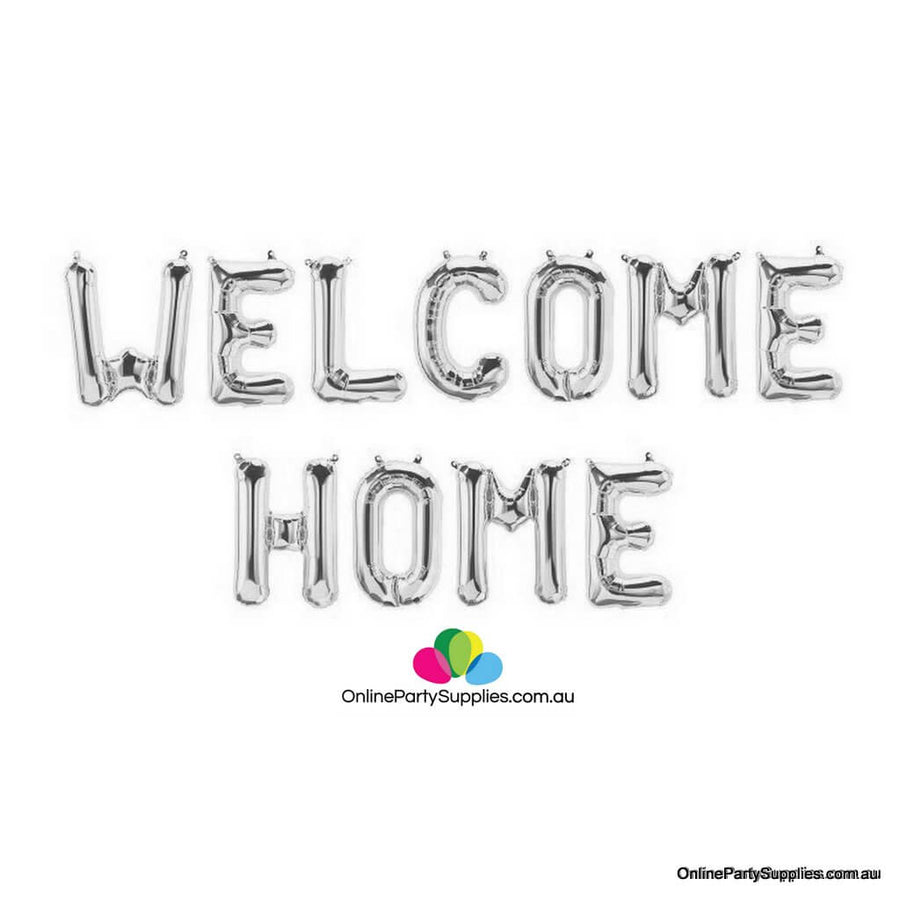 "16"" Silver WELCOME HOME Foil Letter Balloon Banner"