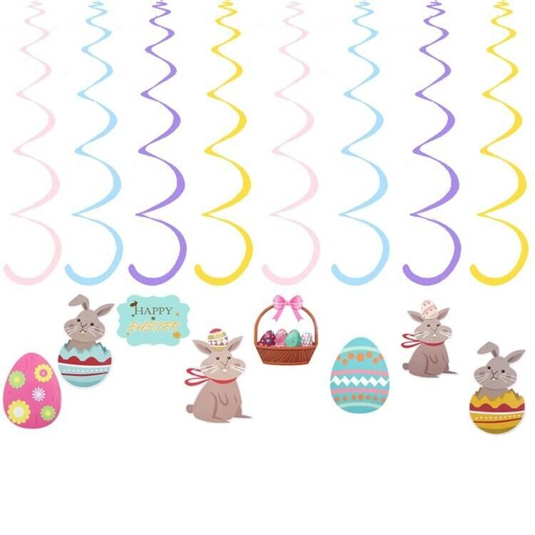 Happy Easter Bunny Rabbit & Easter Eggs Wind Spiral Swirls Pack of 16