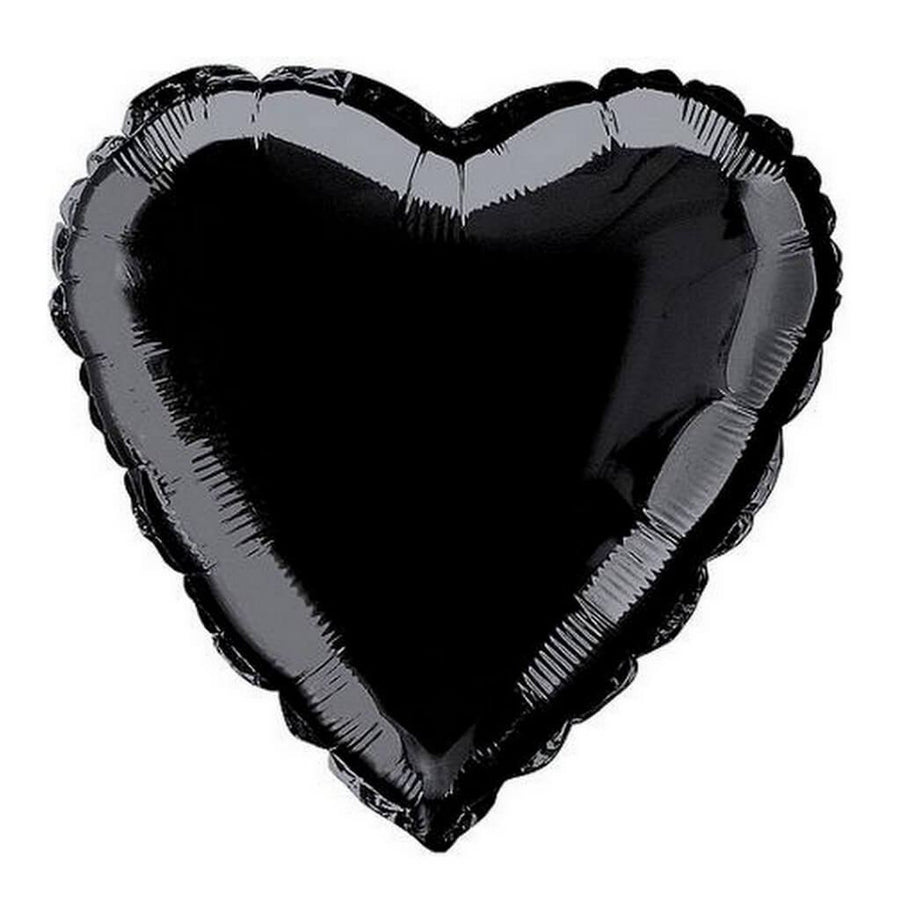 "Online Party Supplies 18"" Black Heart Shaped Foil Party Balloon Bouquet (Pack of 10)"