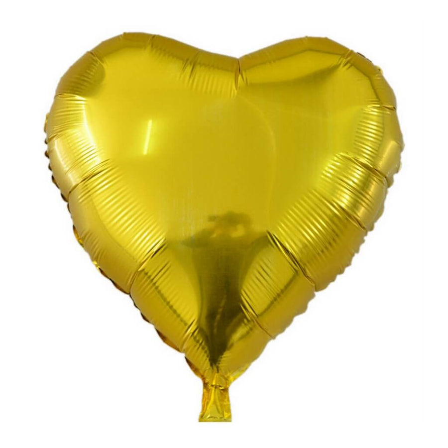 Online Party Supplies 18 Inch Gold Heart Shaped Foil Balloon Bouquet (Pack of 10)