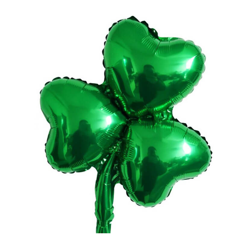 "18"" Green Shamrock Shaped Foil Balloon - Happy Saint Patrick's Day decor, Irish themed party decorations"