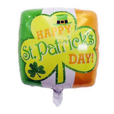 "18"" Irish Flag Happy St. Patrick's Day Shamrock Foil Balloon"