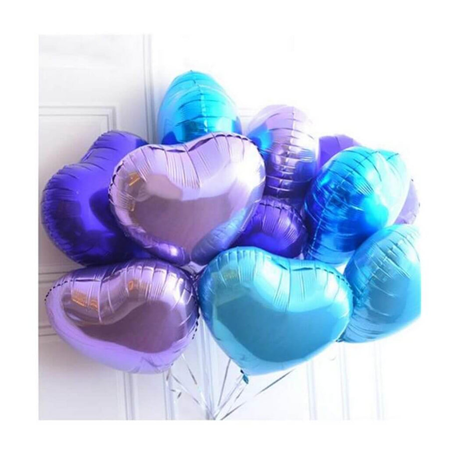 "Online Party Supplies 18"" Blue Heart Shaped Foil Party Balloon Bouquet (Pack of 10)"
