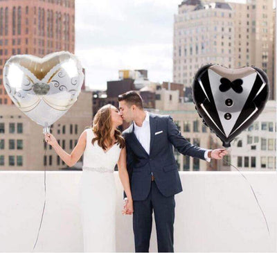 "Online Party Supplies 18"" Bride Groom Heart Shaped wedding Balloon Pack (Pack of 2)"