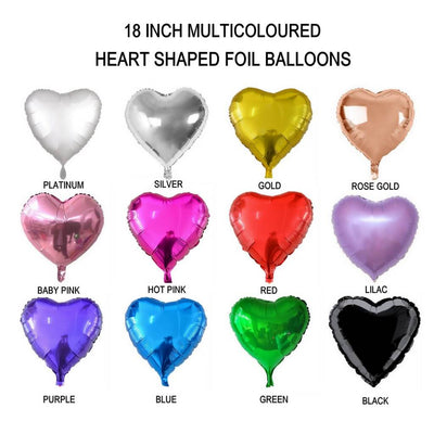 Online Party Supplies 18 Inch Heart Shaped Foil Party Balloon Colour Chart