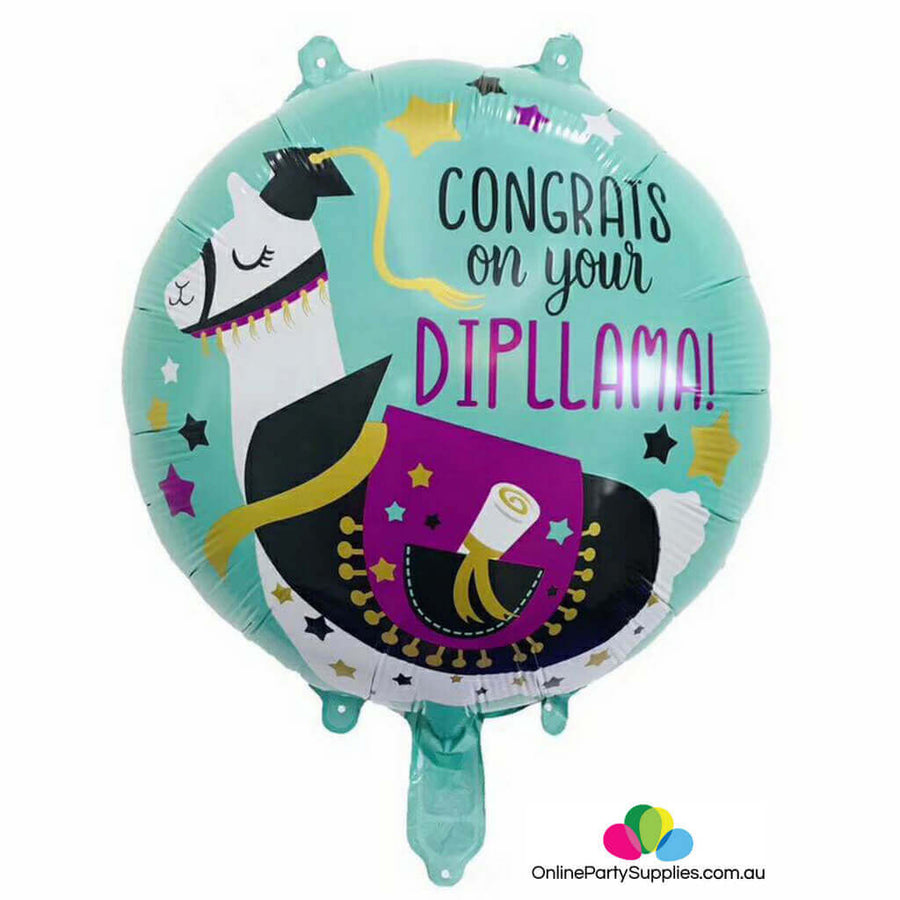 "18"" Congrats On Your Dipllama Llama Alpacas Foil Balloon - Llama Themed Graduation Fiesta Party"