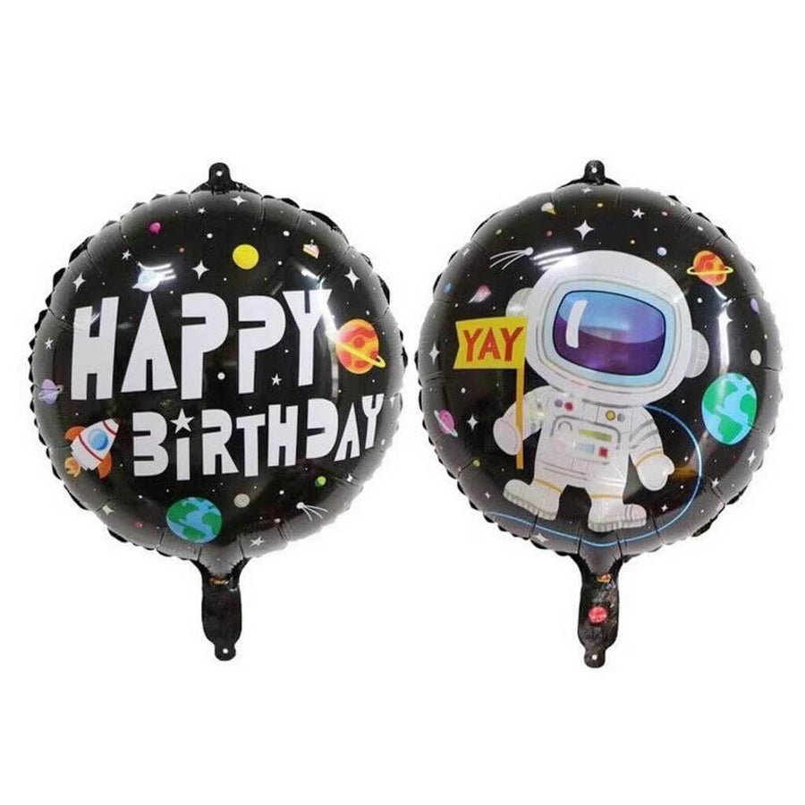 "18"" Round Happy Birthday Astronaut Foil Balloon - Outer Space Themed Party Decorations"