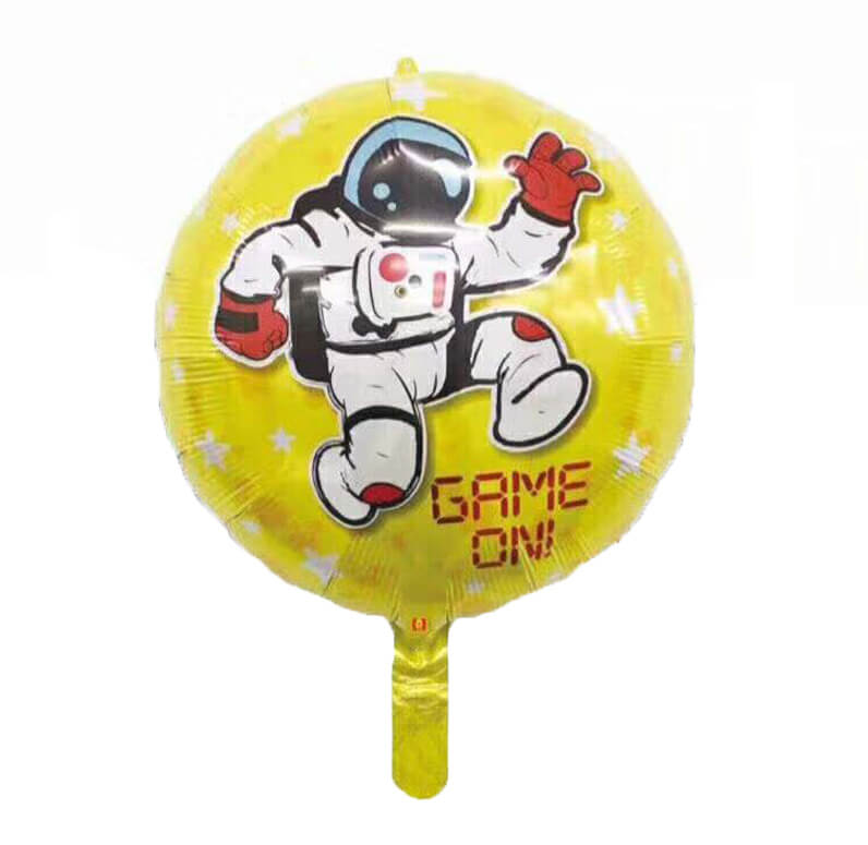 "18"" Yellow Round Game On Astronaut Foil Balloon"
