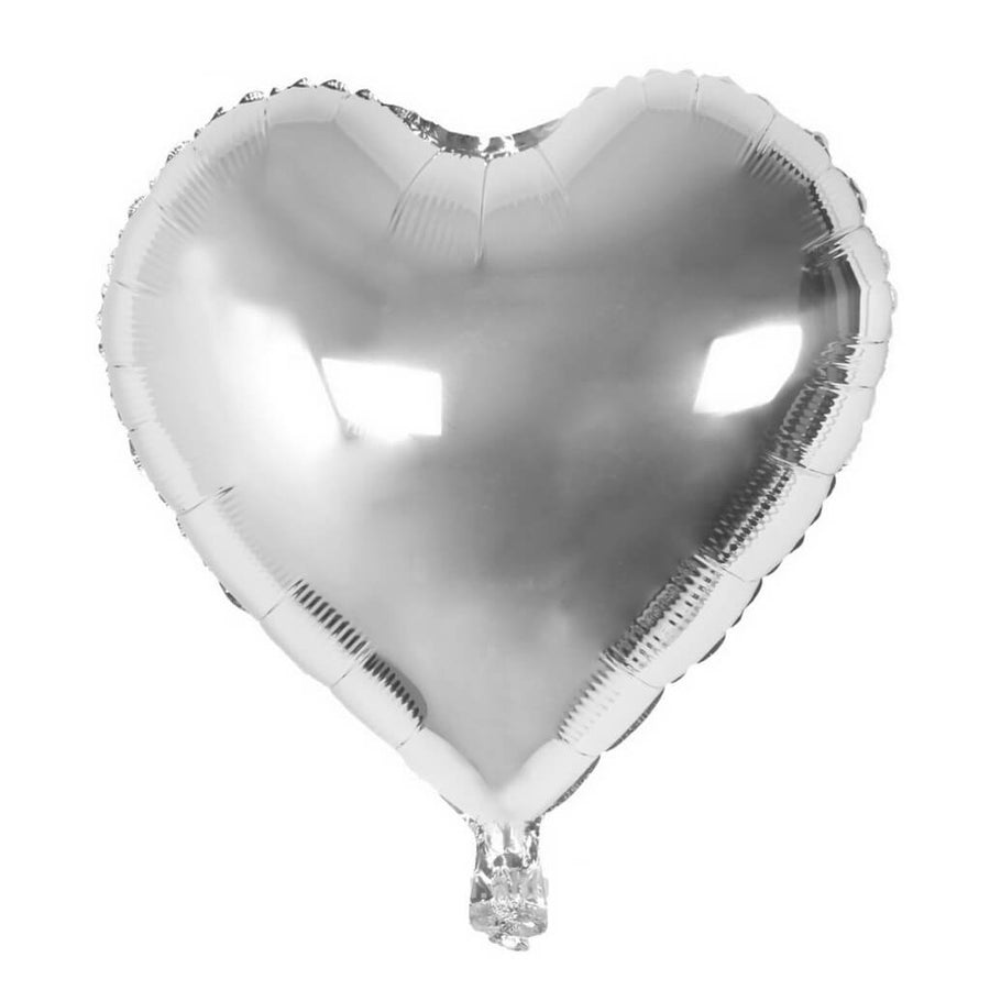 Online Party Supplies 18 Inch Silver Heart Shaped Foil Party Balloon Bouquet (Pack of 10)
