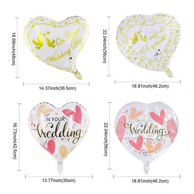 "18"" White Pink 'On Your Wedding' Heart Shaped Foil Balloon measurement"