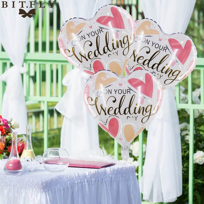 "18"" White Pink 'On Your Wedding' Heart Shaped Foil Balloon bouquet"