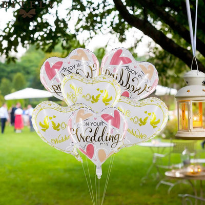 "18"" White Pink Yellow 'On Your Wedding' Heart Shaped Foil Balloon bouquet"