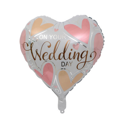 "18"" White Pink 'On Your Wedding' Heart Shaped Foil Balloon"