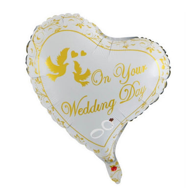 "18"" White yellow 'On Your Wedding' Heart Shaped Foil Balloon"