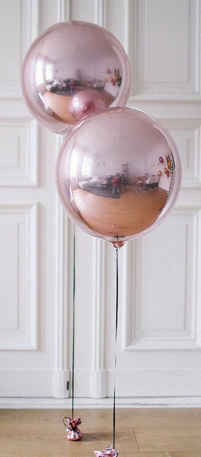 "18"" Large ORBZ 4D Rose Gold Sphere Foil Balloon - Online Party Supplies"