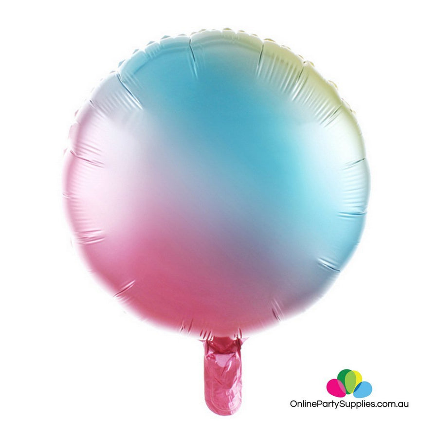 "18"" Pastel Iridescent Rainbow Round Shaped Foil Balloon - Online Party Supplies"