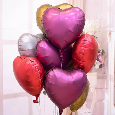 "18"" Chrome Metallic Coloured Heart Shaped Foil Balloon - Online Party Supplies"