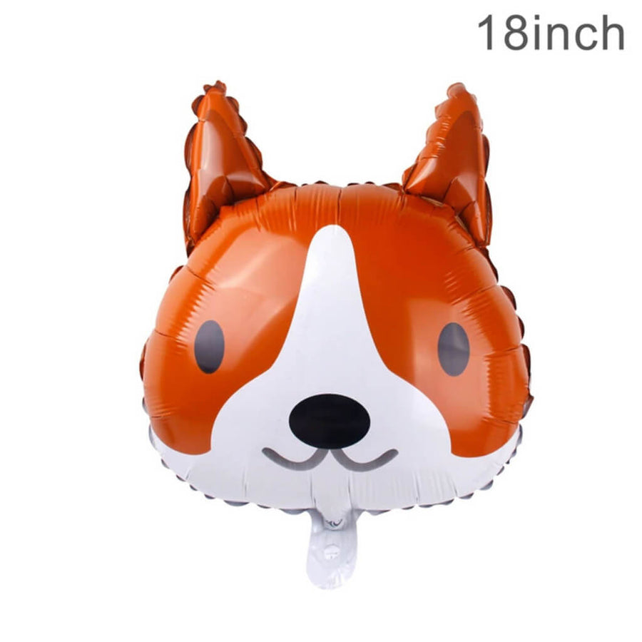 "18"" Online Party Supplies Orange Puppy Dog Head Shaped Foil Balloon for Animal Theme Party Decorations"