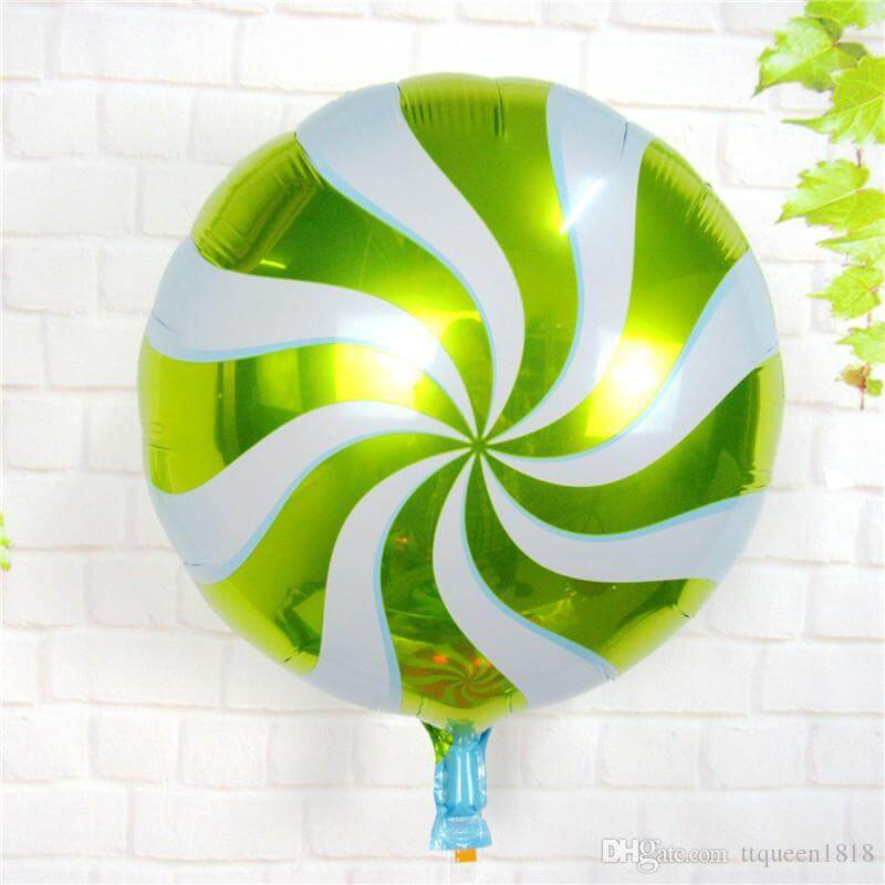 "18"" Online Party Supplies green Swirl Sweet Candy Lollipop Balloon Candyland Buffet Party Theme"