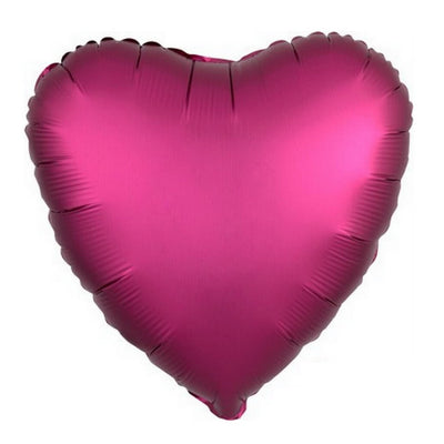 "18"" Chrome Metallic Metal Brown Red Heart Shaped Foil Balloon - Online Party Supplies"