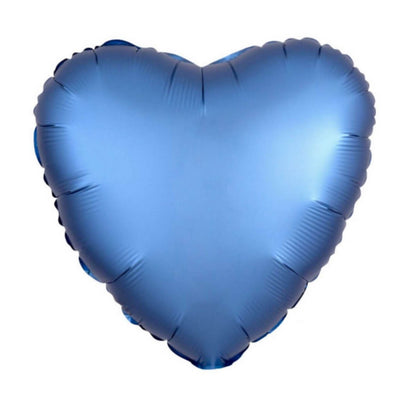 "18"" Chrome Metallic Metal Dark Blue Heart Shaped Foil Balloon - Online Party Supplies"