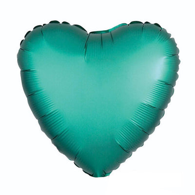"18"" Chrome Metallic Metal Jade Green Heart Shaped Foil Balloon - Online Party Supplies"