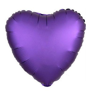 "18"" Chrome Metallic Metal Purple Heart Shaped Foil Balloon - Online Party Supplies"