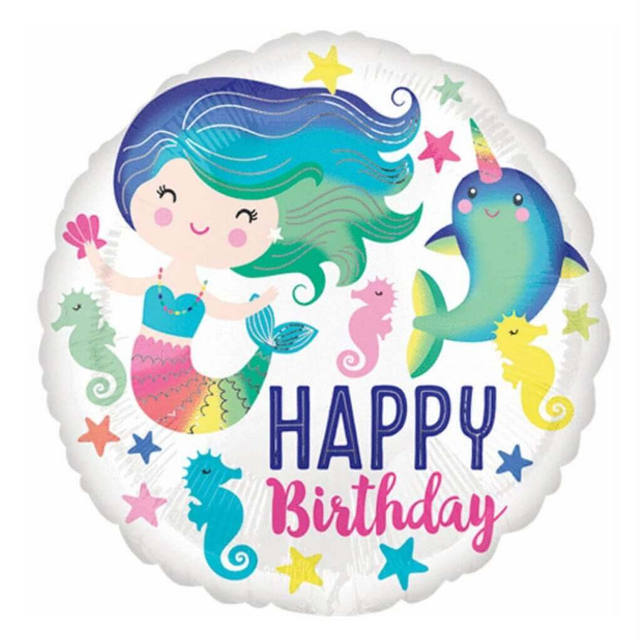 "18"" Online Party Supplies Happy Birthday Rainbow Mermaid Round Foil Balloon"