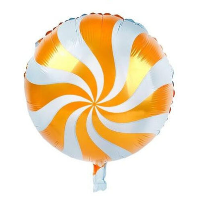 "18"" Online Party Supplies Orange Swirl Sweet Candy Lollipop Balloon Candyland Buffet Party Theme"