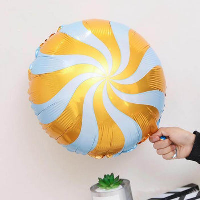 "18"" Online Party Supplies Orange Swirl Sweet Candy Lollipop Balloon Candyland Party Theme"