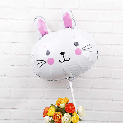 "18"" White Cartoon Rabbit Head Foil Balloon"