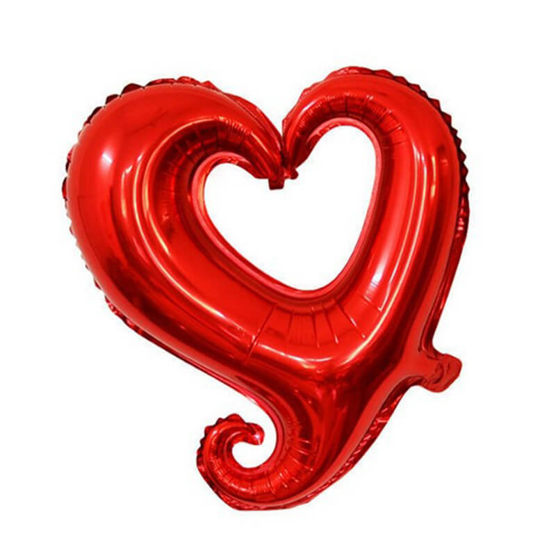"18"" Red Hook Hollow Heart Shape Valentine's Day Wedding Bridal Shower Party Foil Balloon"