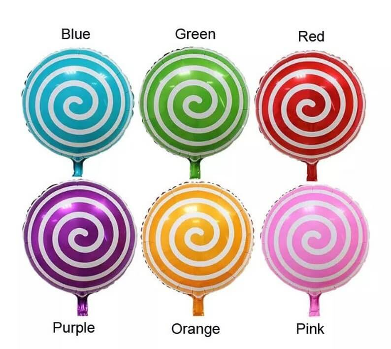 "18"" Online Party Supplies blue spiral Sweet Candy Lollipop Balloon Candyland Buffet Party Theme"