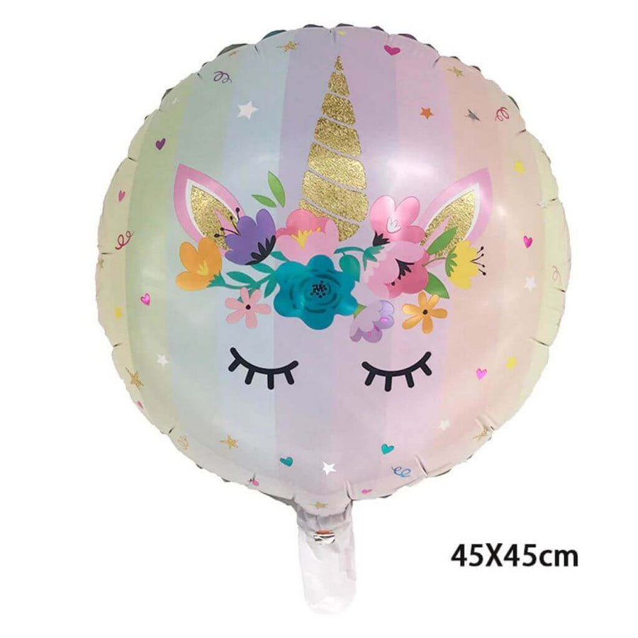 "18"" Round Floral Unicorn Foil Balloon"