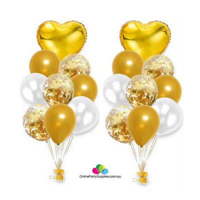 Gold White Confetti Latex Heart Foil Balloon Bouquet - 18 Pieces