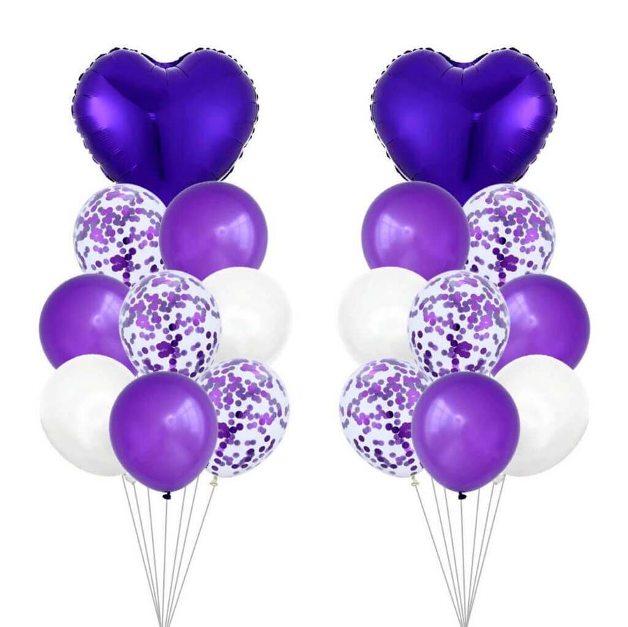 Purple Heart & Confetti Balloon Bundle (Pack of 18)