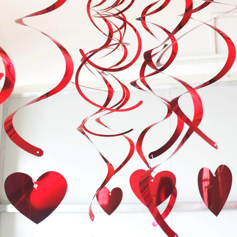 Red Heart Foil Hanging Spiral Swirl Decorations Pack of 18