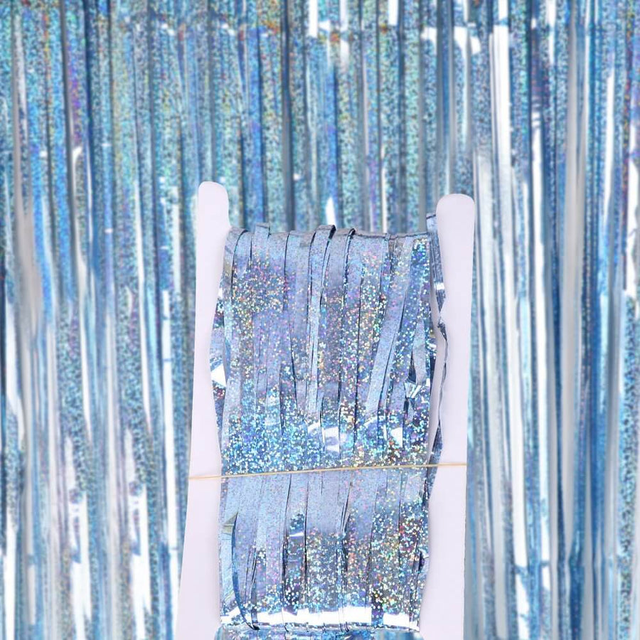 1m x 2m Laser Glitter Light Blue Foil Fringe Curtain