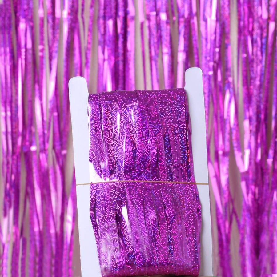 1m x 2m Online Party Supplies Australia Laser Glitter Purple Tinsel Foil Fringe Rain Curtain