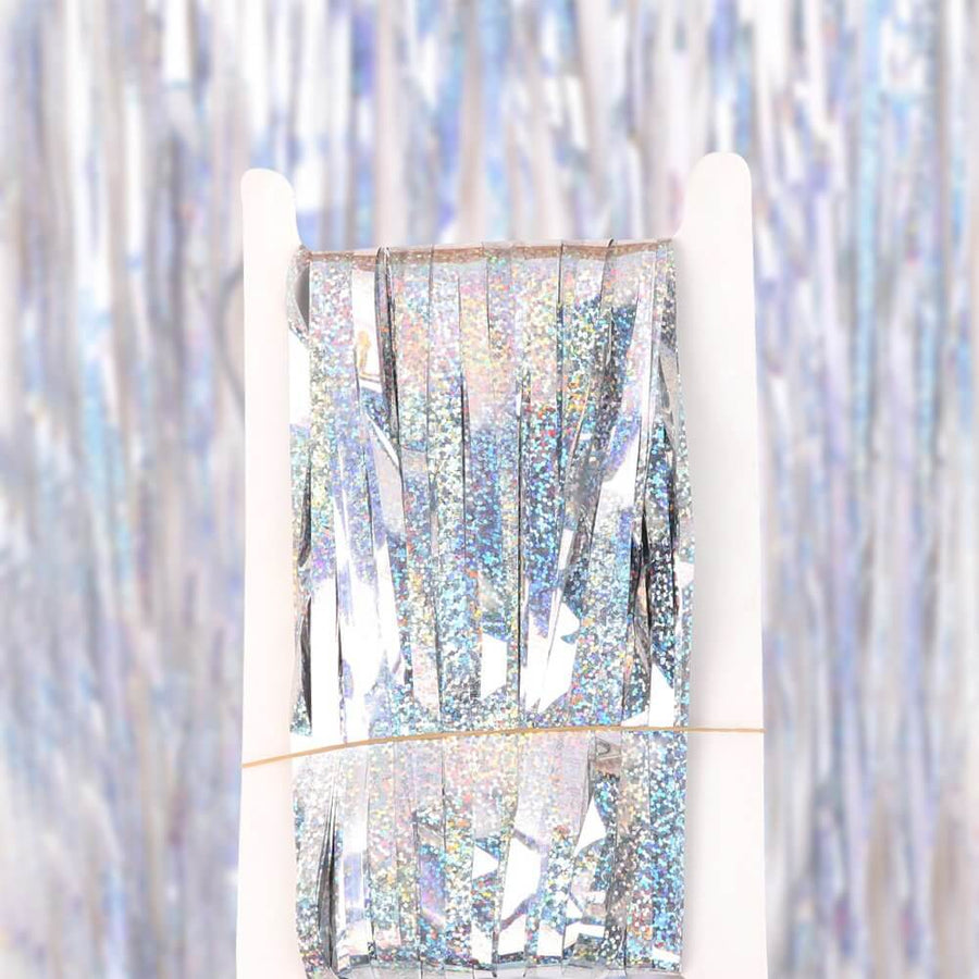 1m x 2m Online Party Supplies Australia Laser Glitter Silver Tinsel Foil Fringe Rain Curtain