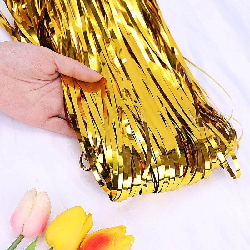 1m x 2m Metallic Gold Tinsel Foil Fringe Rain Curtain